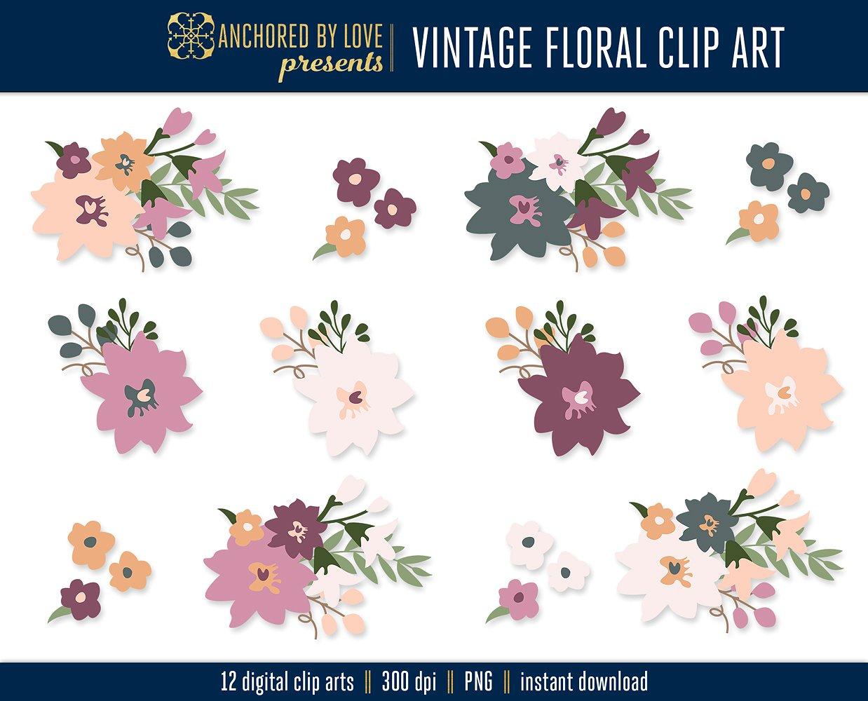 Vintage Flower clipart vintage love Vintage Clip Floral on