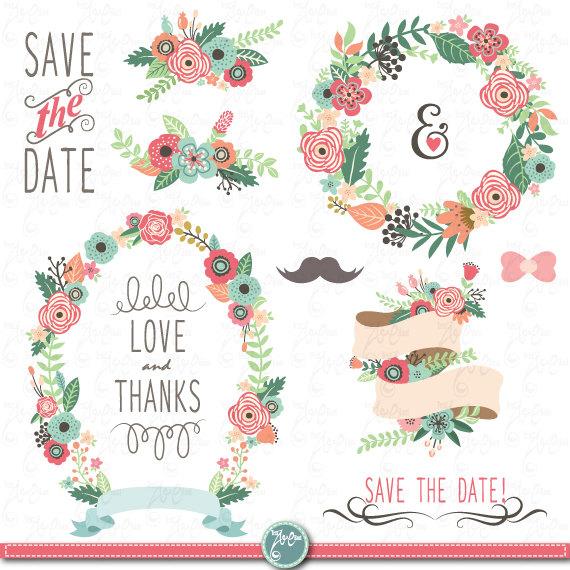 Vintage Flower clipart wedding floral Floral Wedding pack Clip FLORA