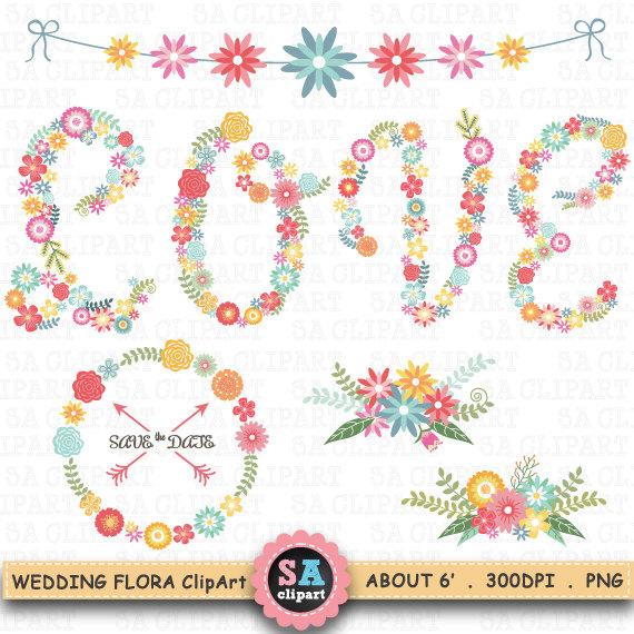 Vintage Flower clipart wedding floral Pack Wf046 Wedding FLORAL