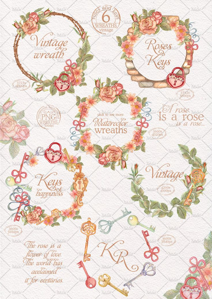 Vintage Flower clipart wedding invitation #14