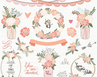 Vintage Flower clipart wedding invitation #7