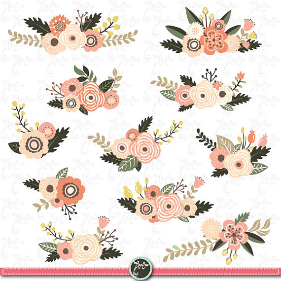Vintage Flower clipart wedding invitation #8