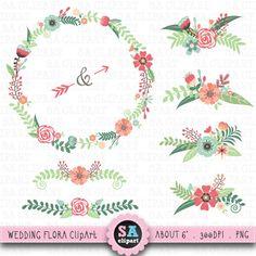 Vintage Flower clipart wedding invitation #3