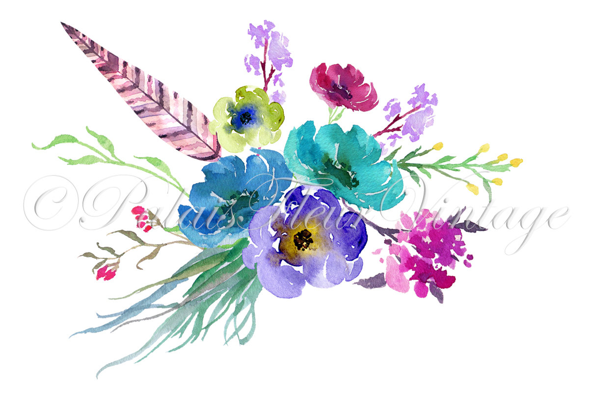 Vintage Flower clipart wildflower bouquet This Art is Hand Clip