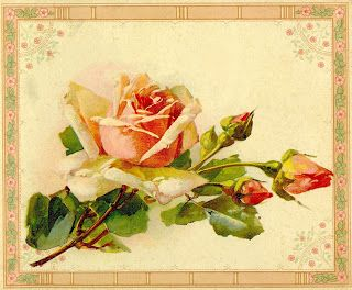 Vintage Flower clipart yellow rose Vintage Antique flowers Pin Art:
