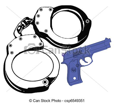 Violence clipart handgun Violence gun  and cuffs