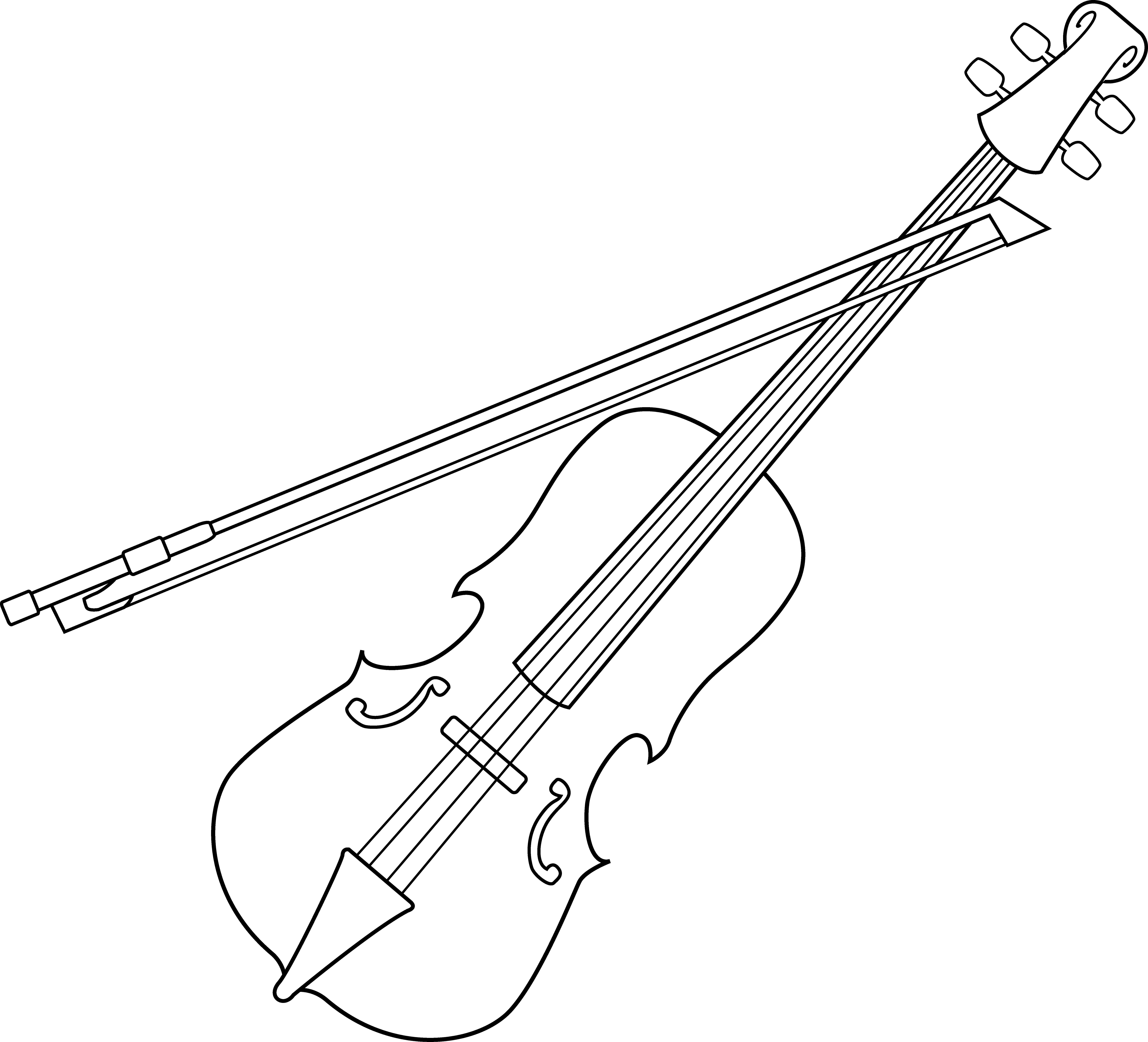 White clipart violin Colorable Design Clip Free Coloring