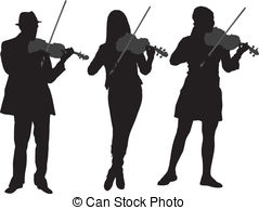 Violinist clipart White and Violinist background vector
