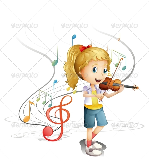 Violinist clipart school orchestra Cartoon Young Musician girl background