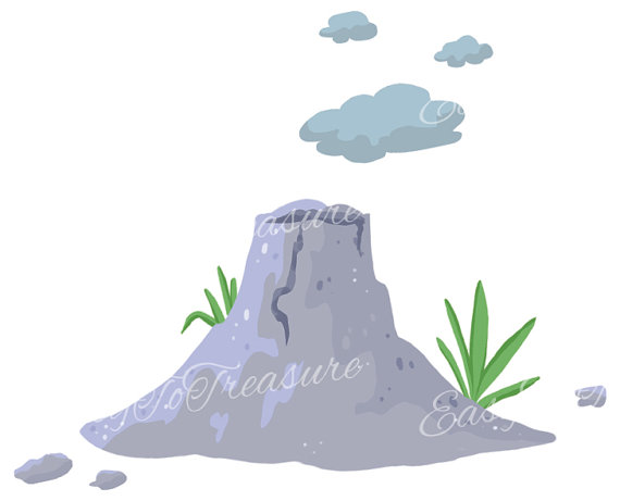 Volcano clipart blue With – grass JPEG grey