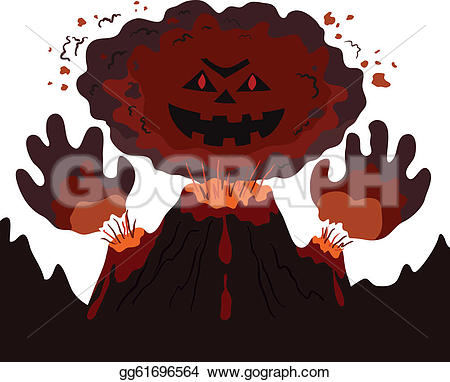 Volcano clipart face Face volcano Vector hands The