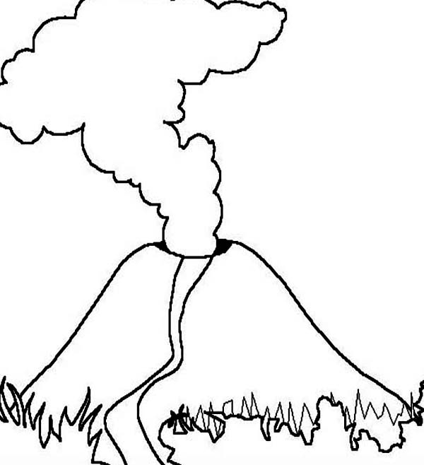 Volcano clipart outline & Volcano Magma Part Coloring