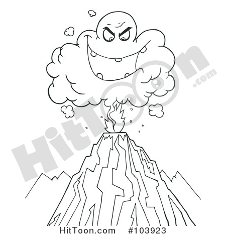 Volcano clipart outline Cloud Coloring Outline an Erupting