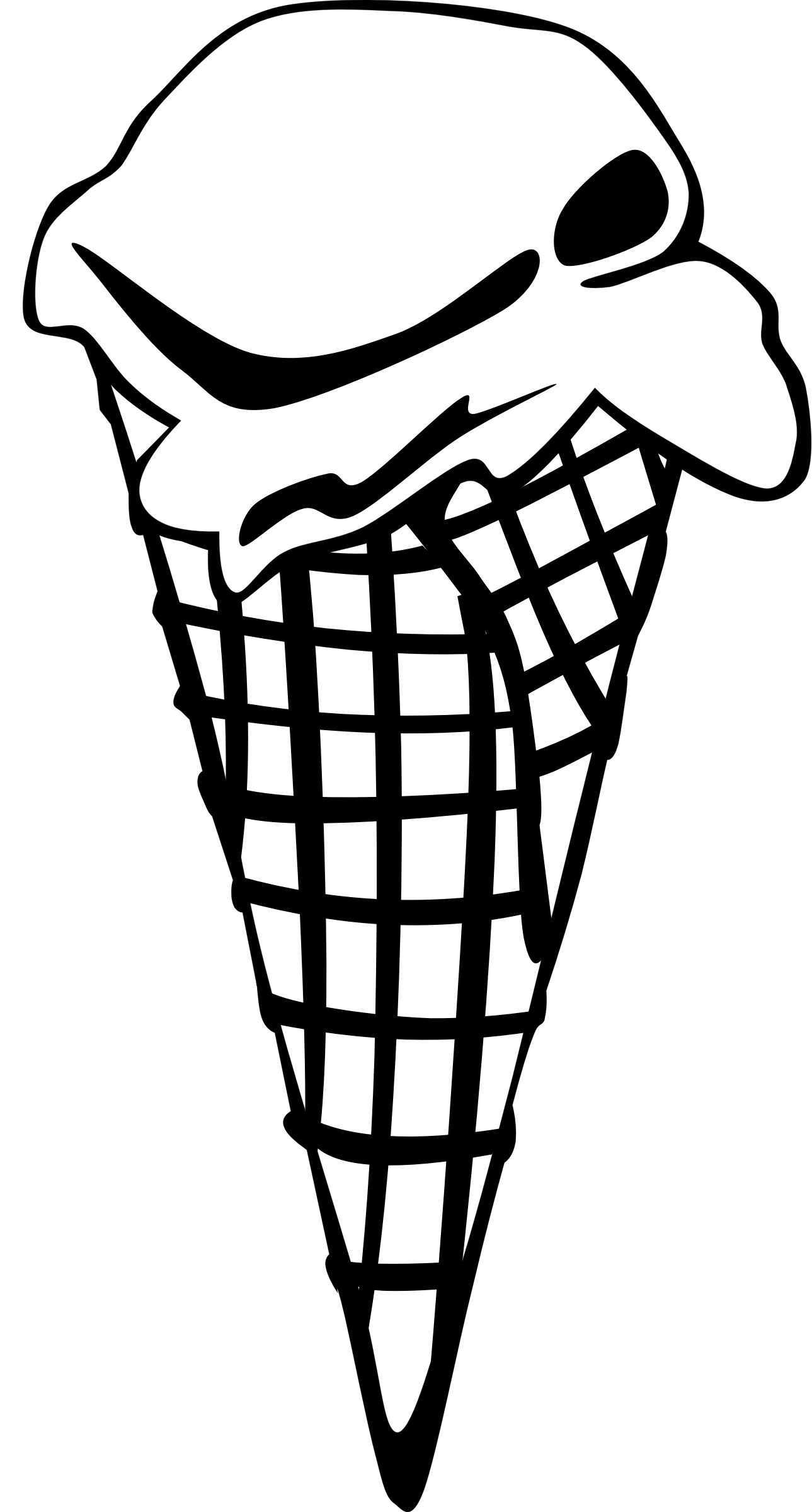 Waffle Cone clipart coloring page Waffle Food Single BIG (PNG)