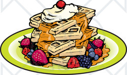 Waffle clipart syrup Illustration Square Maple Of With