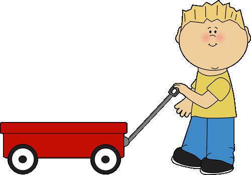 Trolley clipart kid Wagon Art Pulling Wagon Boy