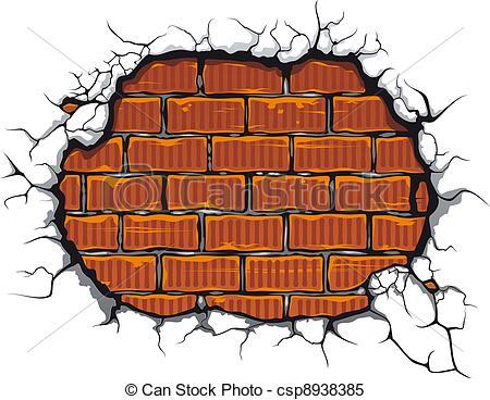 Brick clipart logo Of brickwall for design Damaged