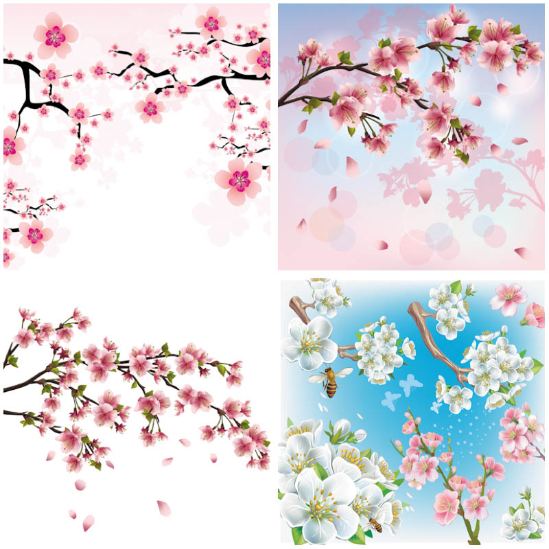 Cherry Tree clipart vector background Set backgrounds  cherry hd