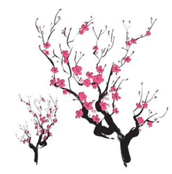 Drawn sakura blossom japanese building Clip Cherry Clip Art Art