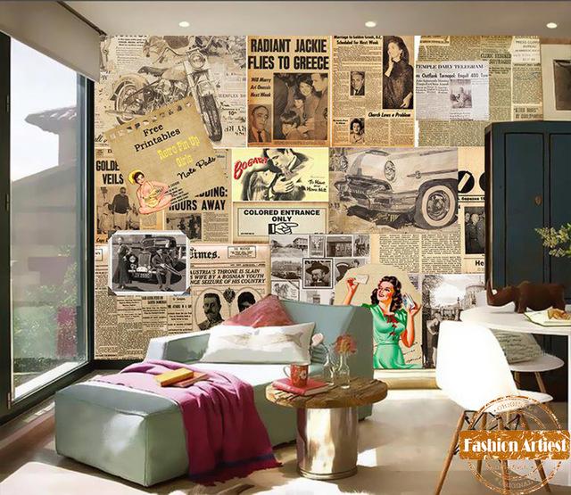Bedroom clipart tv room European mural room vintage