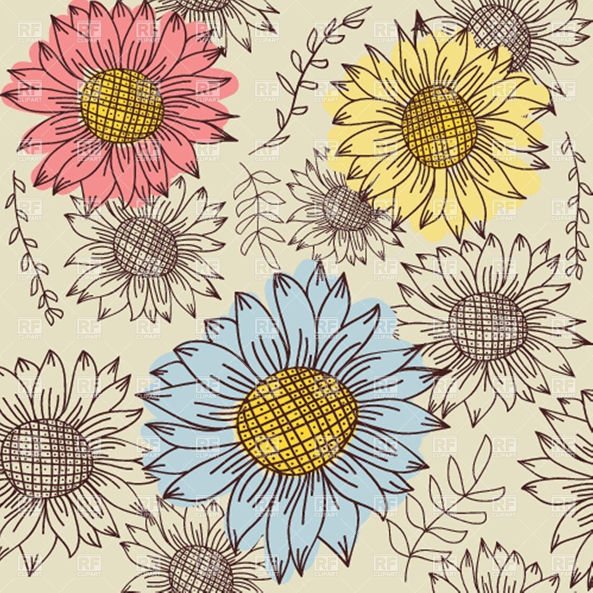 Wallpaper clipart sunflower Vintage Sunflower com WalOps Wallpaper
