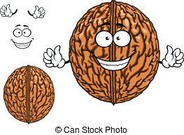 Walnut clipart Happy vector Vector Clipart character