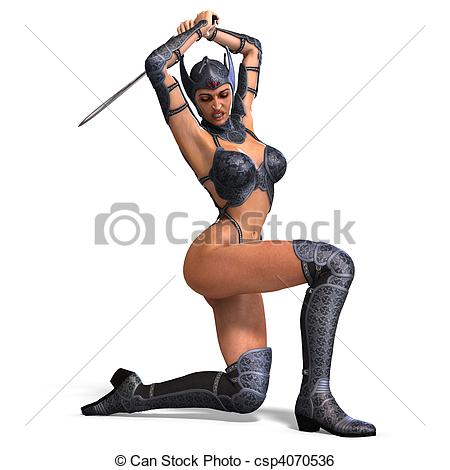 Warrior clipart female warrior Warrior rendering Illustration sword with