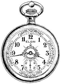 Pocket Watch clipart outline Old Elgin clipart pocketwatch advertisement
