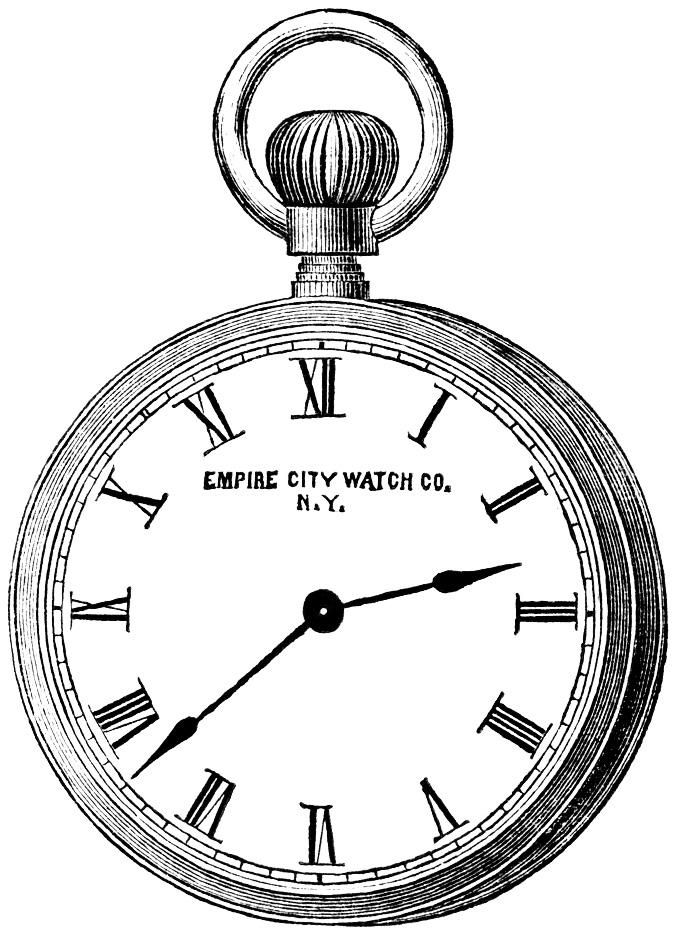 Pocket Watch clipart outline Design digital Old image: ~