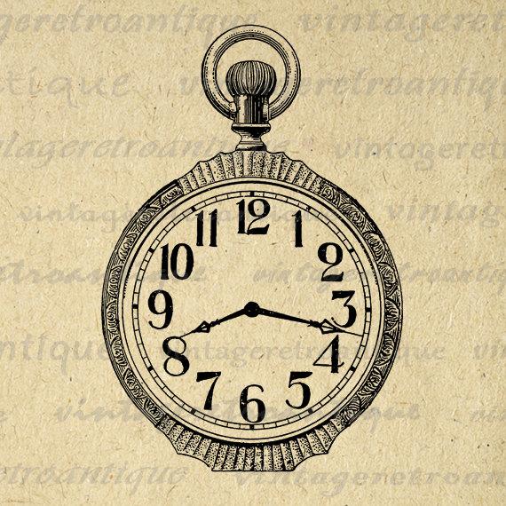 Pocket Watch clipart alice in wonderland Antique Pocket Printable Watch Watch