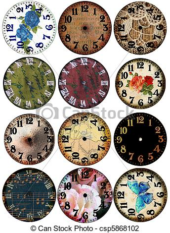 Watch clipart vintage clock 12 Watch Page of Faces