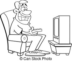 Watch clipart watch television Stock watching television  a