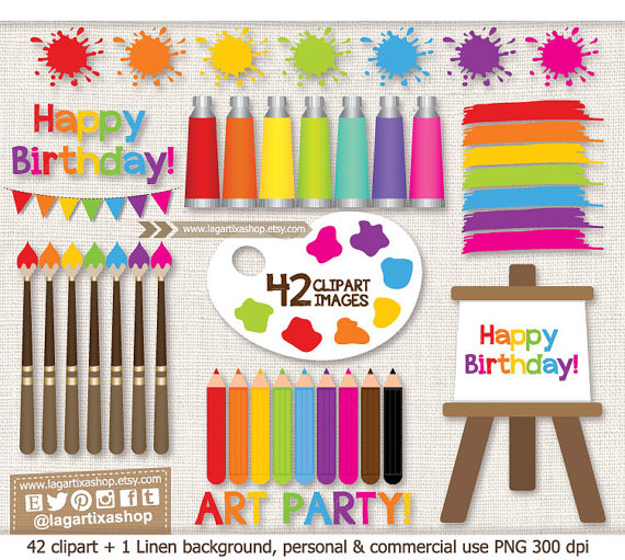 Water Color clipart art class Birthday Canvas brushes Watercolor Painting