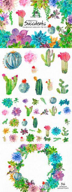 Wildflower clipart southwest Green Forestscape aqua art Tutorial:
