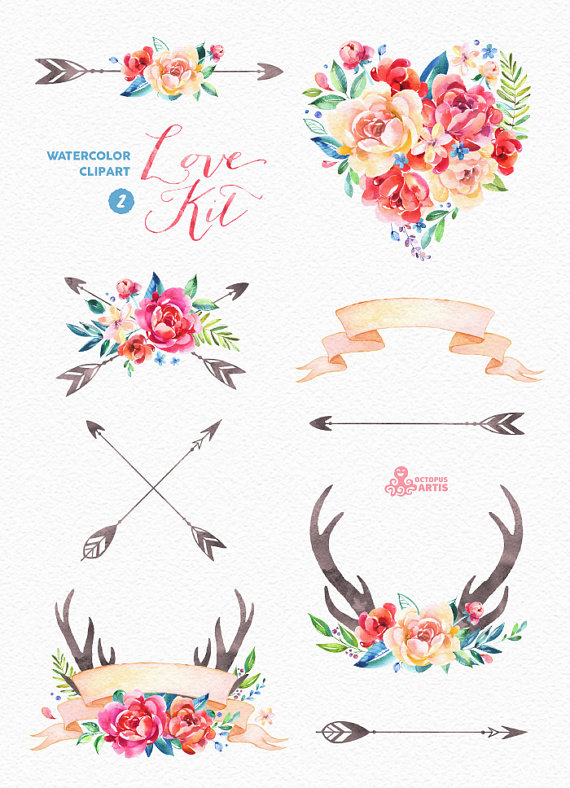 Water Color clipart love flower #10