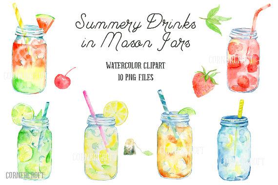 Water Color clipart mason jar lemonade Lemonade digital cocktails Jar Like