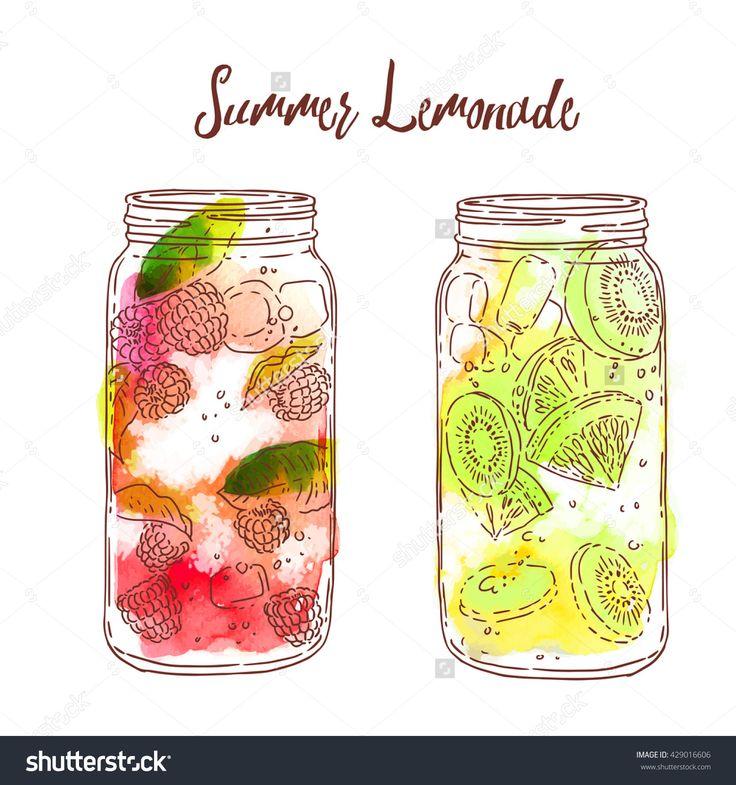 Water Color clipart mason jar lemonade Drawn watercolour best images with