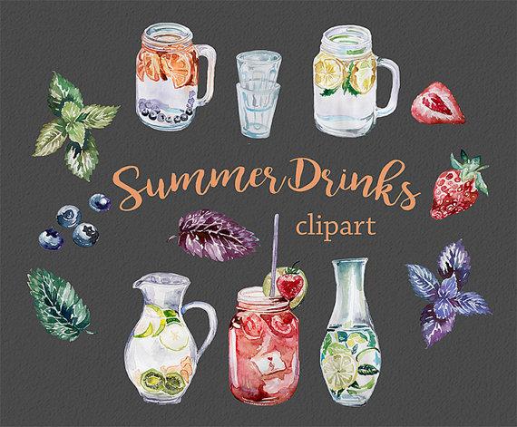Water Color clipart mason jar lemonade Elements Mason Transparent Summer DIY