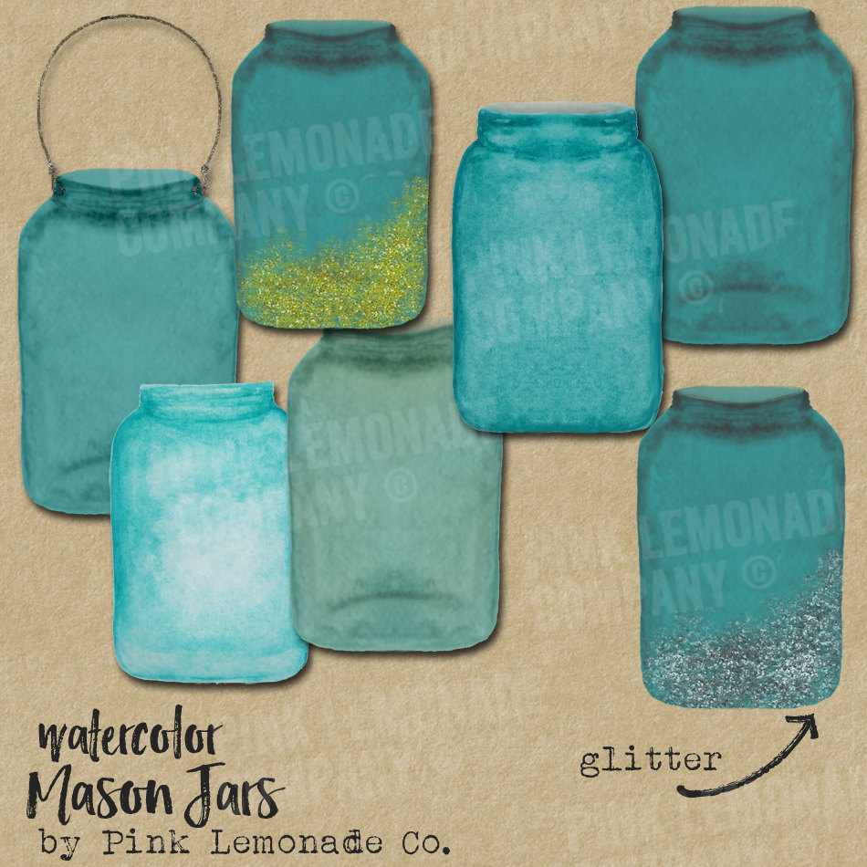 Water Color clipart mason jar lemonade Jar digital Mason Turquoise This