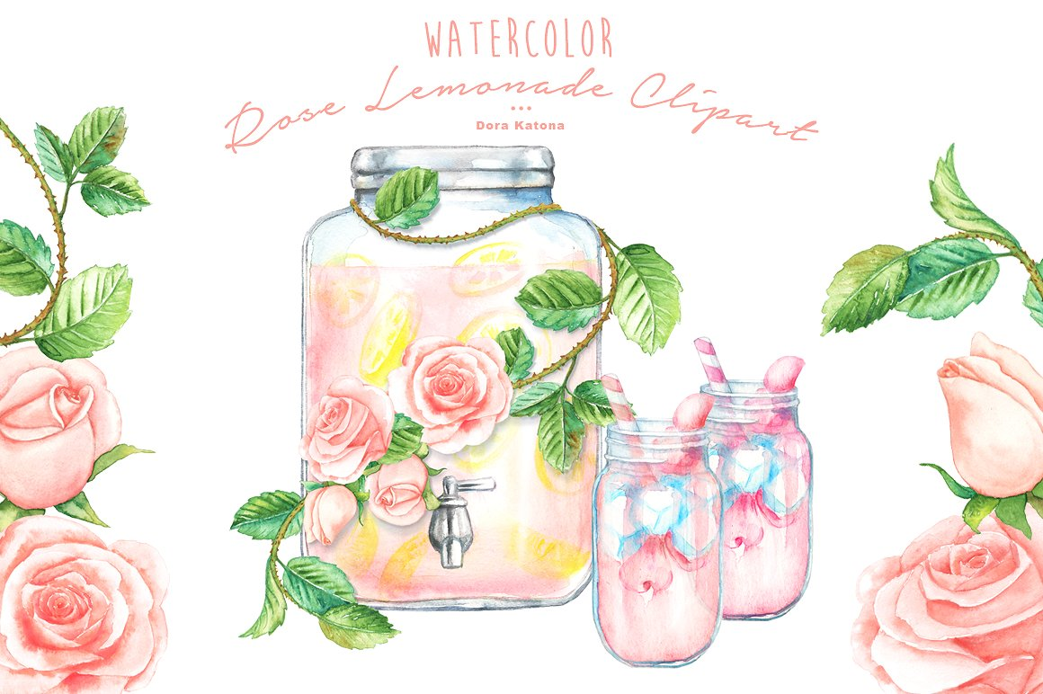Water Color clipart mason jar lemonade Market on ~  Clipart