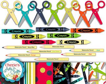 Crayon clipart scissors School Clip Clip Pencils clipart