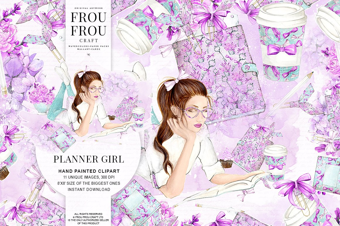 Water Color clipart school thing Girl Set Fonts Photos Themes