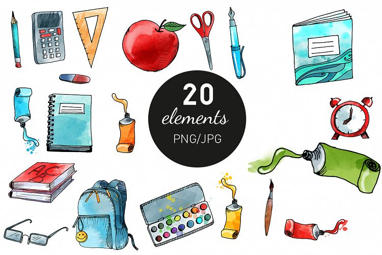 Water Color clipart school thing By school Design & to