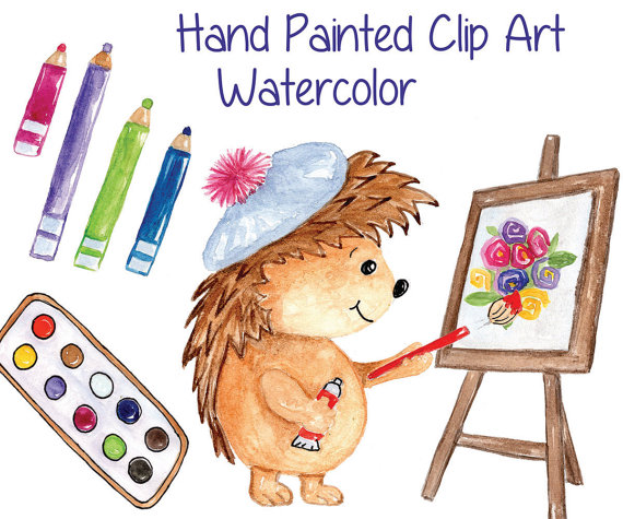 Water Color clipart school thing A file CLIPART