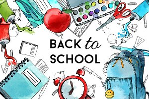 Water Color clipart school thing School & Graphics  clipart
