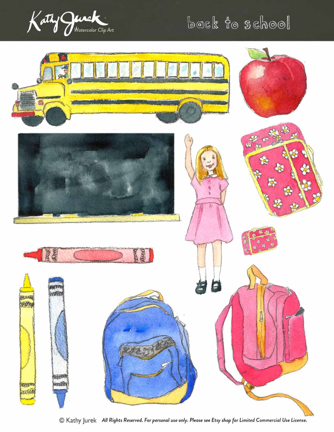 Water Color clipart school thing  a file Art Art