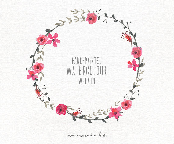 Wreath clipart watercolor Floral / painted use