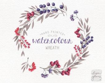 Wreath clipart watercolor Wreath berries floral  /