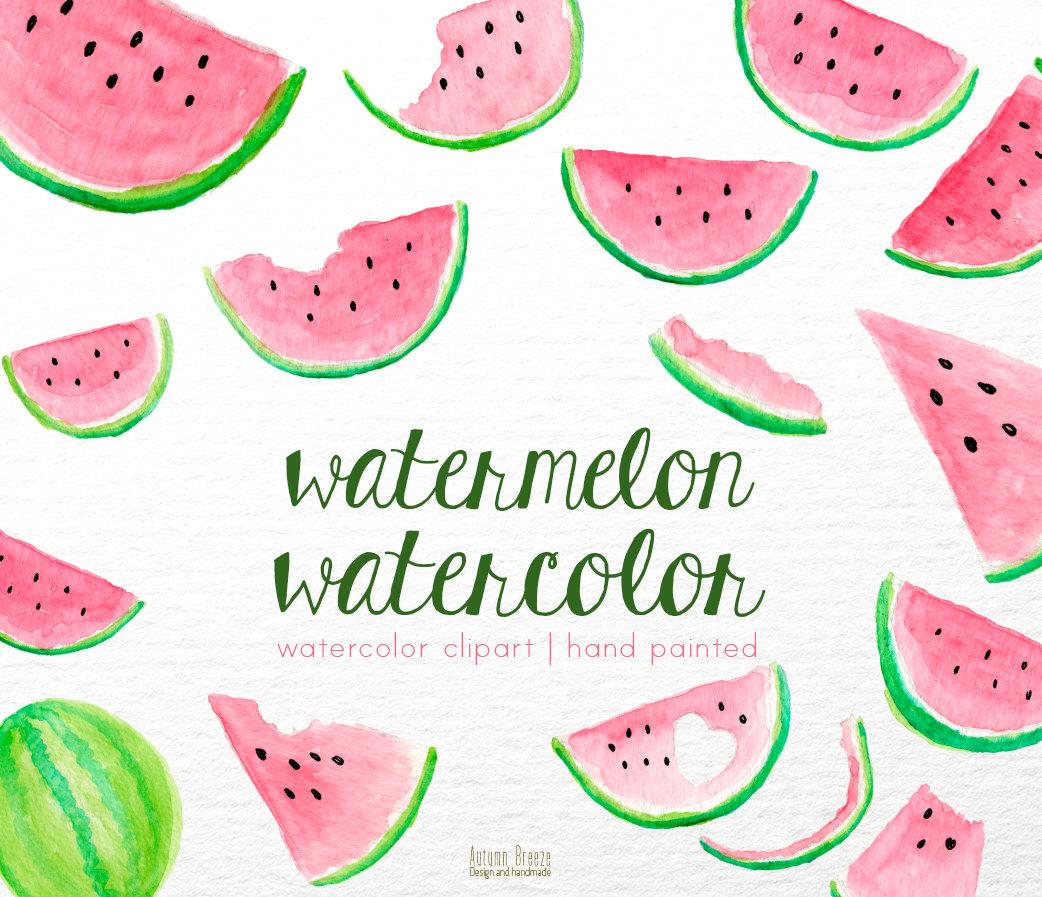 Watercolor clipart Watercolor clip fruits Watercolor pink