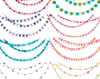 Watercolor clipart Clipart Bunting Bunting Use Wedding